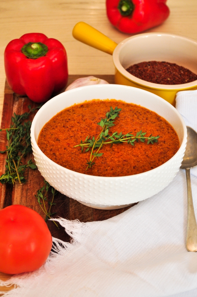 Delicious roasted red pepper and red quinoa soup
